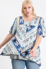 Load image into Gallery viewer, PLUS SIZE  Short Sleeve Aztec Patterned Layered Top