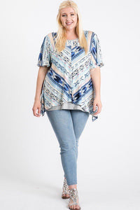 PLUS SIZE  Short Sleeve Aztec Patterned Layered Top
