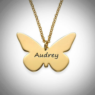 Sterling Silver or Gold Personalized Butterfly Necklace