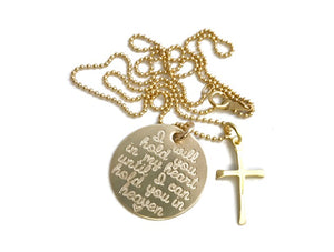 14K Gold Memorial Necklace with Cross