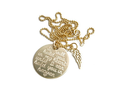 14K Gold Memorial Necklace with Wing
