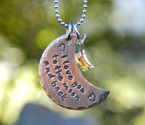 Rustic I Love You To The Moon and Back Copper and Crystal Moon