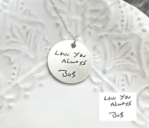 "1"" Sterling Silver Actual Handwriting Disc Necklace"