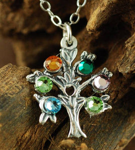 Tree Of Life Birthstone Charm Necklace