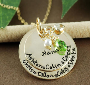 2 Disc Grandma Necklace With Pearl and Birthstone - Gold or Silver