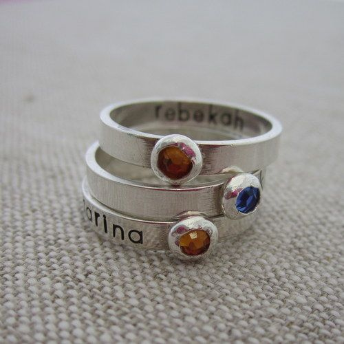 Personalized Hand Stamped Birthstone Ring