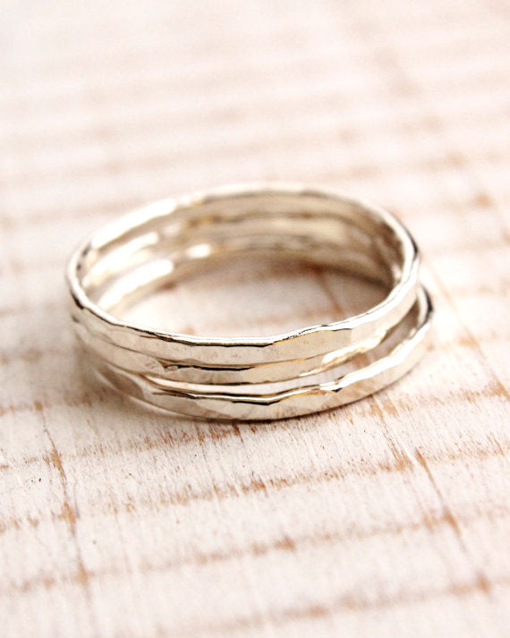 THREE Sterling Silver Hammered Rings