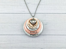 Load image into Gallery viewer, Mixed Metal Four Layer Heart Necklace