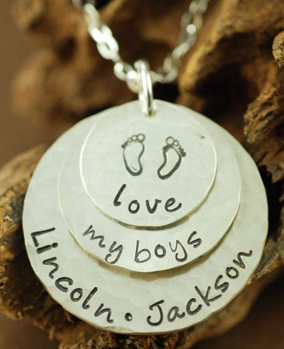 Love My Boys or Girls Baby Feet Necklace