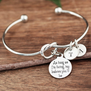 As Long As I'm Living Knot Initial Bracelet - Silver, Gold, Rose Gold