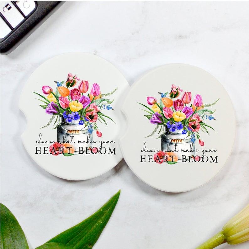 Choose What Makes Your Heart Bloom Car Coasters