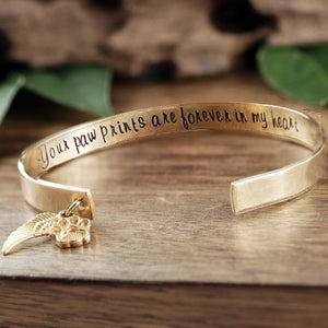 Custom Pet Memorial Cuff Bracelet - Choose A Metal