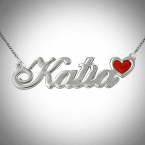 Sterling Silver Color Charm Nameplate Necklace