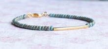 Load image into Gallery viewer, Gilded Turquoise Seed Bead And Gold Filled Bar Bracelet
