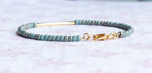 Gilded Turquoise Seed Bead And Gold Filled Bar Bracelet