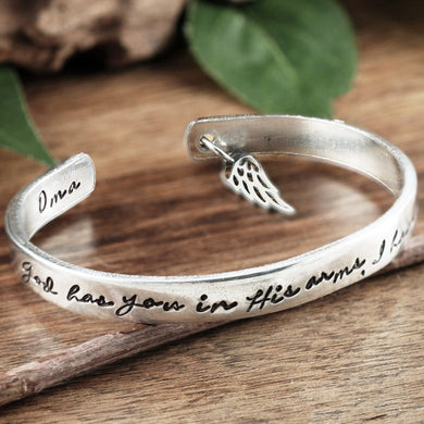 God Has You In His Arms Cuff Bracelet - Choose A Metal