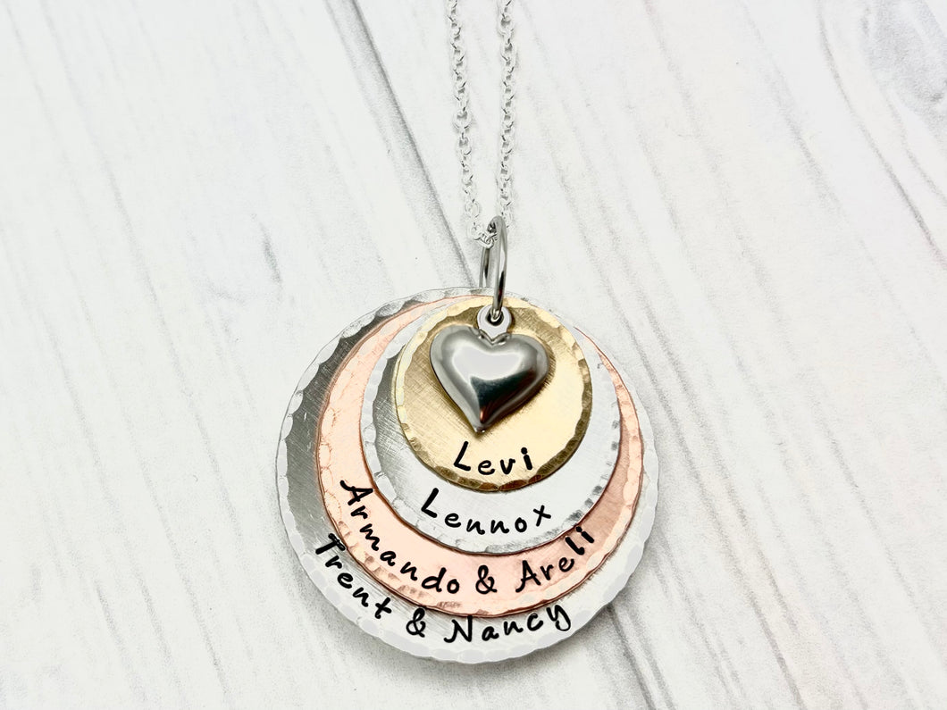 Mixed Metal Four Layer Heart Necklace