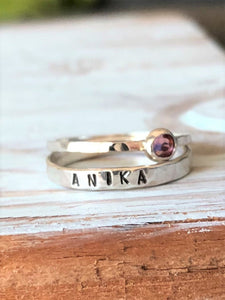 Delicate Sterling Silver Personalized Ring