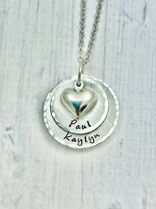 Silver Two Layer Heart Necklace