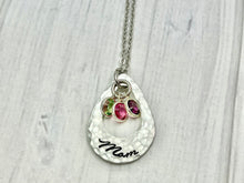 Load image into Gallery viewer, Open Teardrop With Framed Birthstones Necklace
