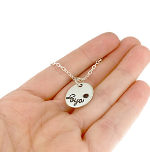 Pewter Name Disc With Inset Birthstone Necklace
