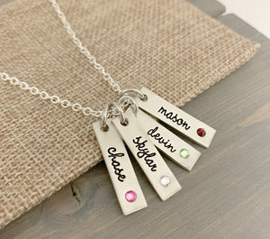 Pewter Name Tag With Inset Birthstone Necklace