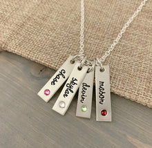 Load image into Gallery viewer, Pewter Name Tag With Inset Birthstone Necklace