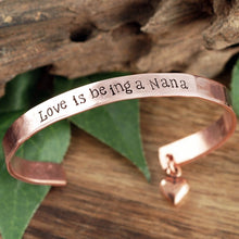 Load image into Gallery viewer, Personalized Cuff Bracelet With Dangling Heart Charm - Choose A Metal