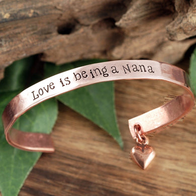 Personalized Cuff Bracelet With Dangling Heart Charm - Choose A Metal