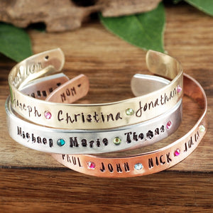 Name And Birthstone Cuff - Choose A Metal