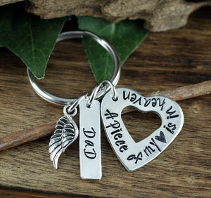 """A Piece of My Heart Is In Heaven"" Open Heart Keychain"