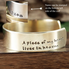 Load image into Gallery viewer, A Piece of My Heart Lives In Heaven Wide Cuff Bracelet - Choose A Metal