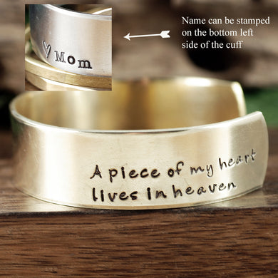 A Piece of My Heart Lives In Heaven Wide Cuff Bracelet - Choose A Metal