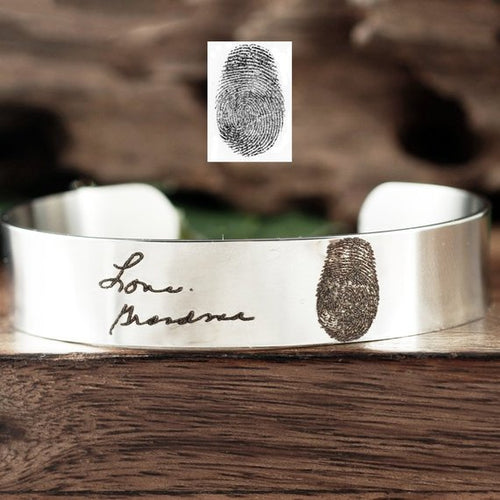 Actual Fingerprint And Handwriting Cuff Bracelet - Choose A Metal Color