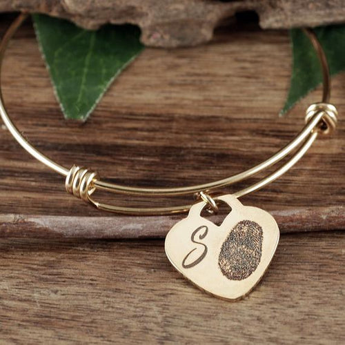 Actual Fingerprint On Heart Pendant Bangle Bracelet - Choose A Metal Color