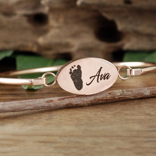 Actual Footprint With Name Bangle Bracelet - Choose A Metal Color