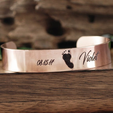 Actual Footprint With Name Cuff Bracelet - Choose A Metal Color