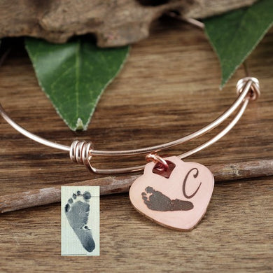Actual Footprint On Heart Pendant Bangle Bracelet - Choose A Metal Color