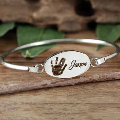 Actual Hand Print With Name Bangle Bracelet - Choose A Metal Color
