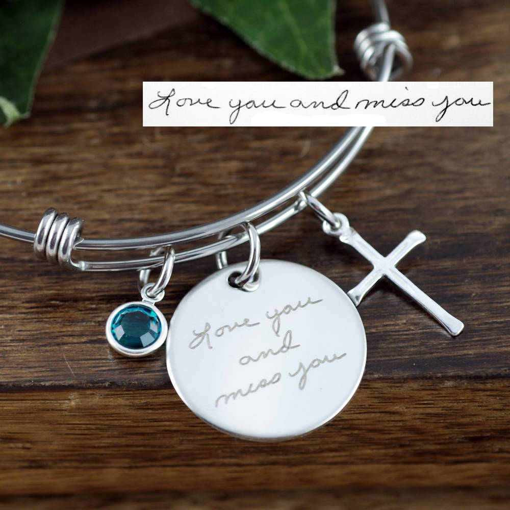 Actual Handwriting Bangle Bracelet With Cross and Birthstone