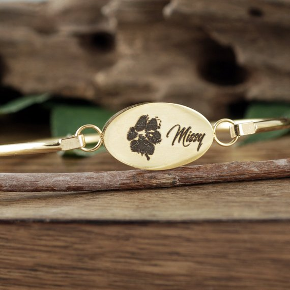 Actual Paw Print With Name Bangle Bracelet - Choose A Metal Color