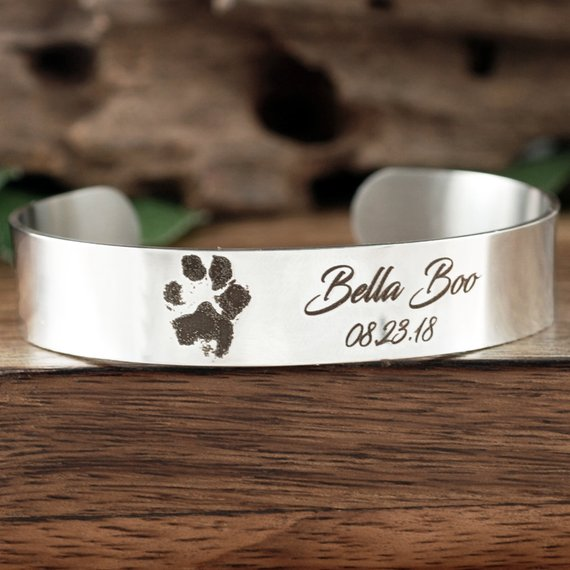 Actual Paw Print With Name Cuff Bracelet - Choose A Metal Color