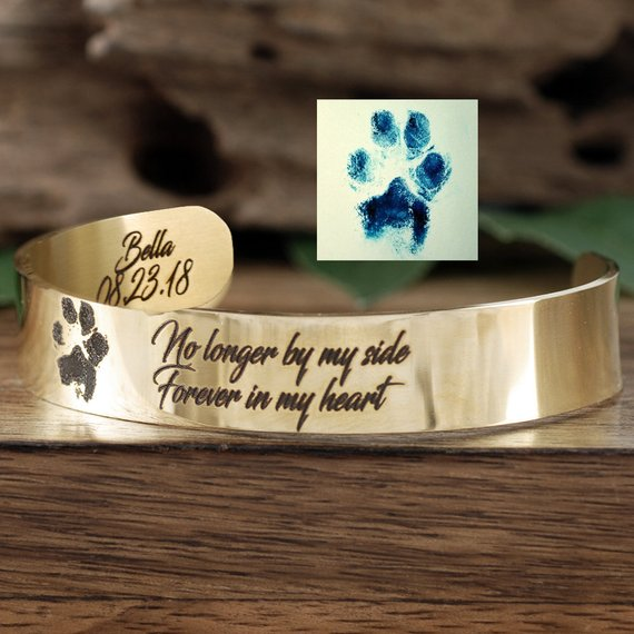 Actual Paw Print Cuff Bracelet - Choose A Metal Color