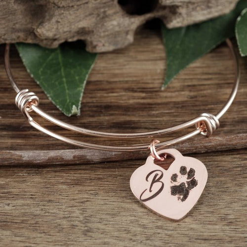 Actual Paw Print On Heart Pendant Bangle Bracelet - Choose A Metal Color