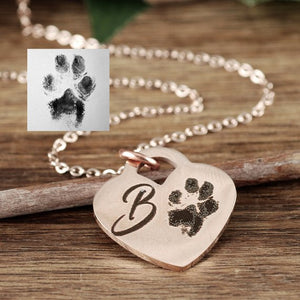 Actual Paw Print On Heart Necklace - Choose A Metal Color