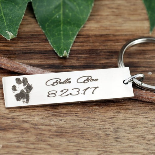 Actual Paw Print Keychain - Choose A Color