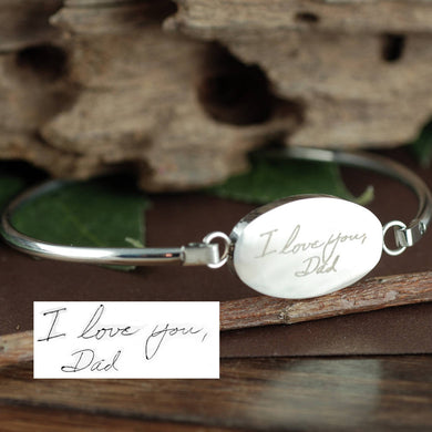 Actual Handwriting Bangle Bracelet