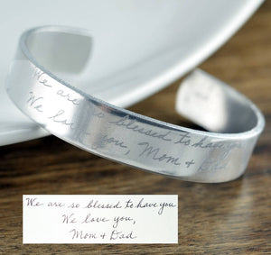 Actual Handwriting Cuff Bracelet