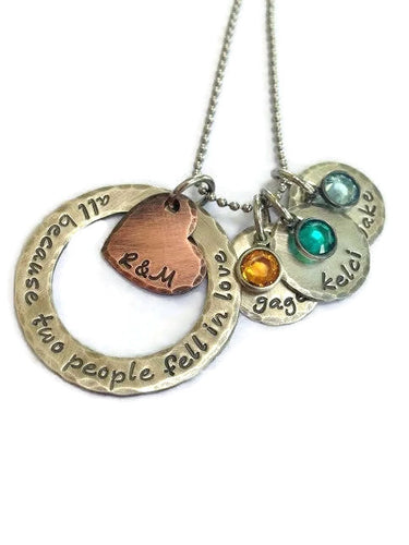 Rustic All Because Two People Fell In Love Mixed Metal Necklace