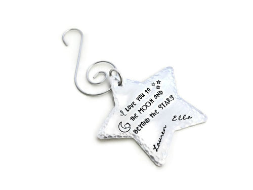 Moon And Stars Christmas Ornament
